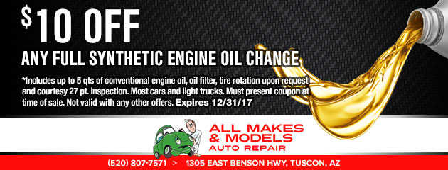 $10 Off Any Full Synthetic Oil Change