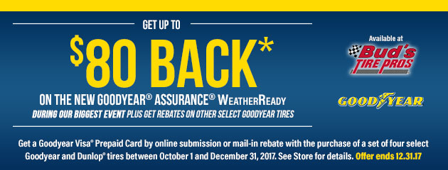Get Up to $80 Back on the New Goodyear Assurance WeatherReady