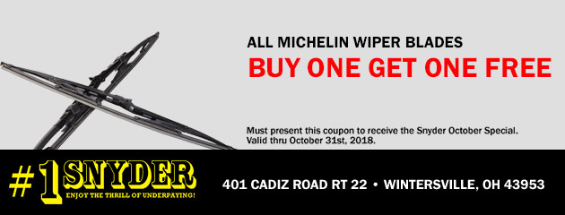 Buy One Get One Free Michelin Wiper Blades