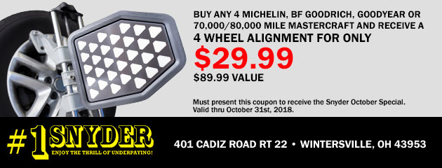 $29.99 Alignment w/ Purchase of Select Tires