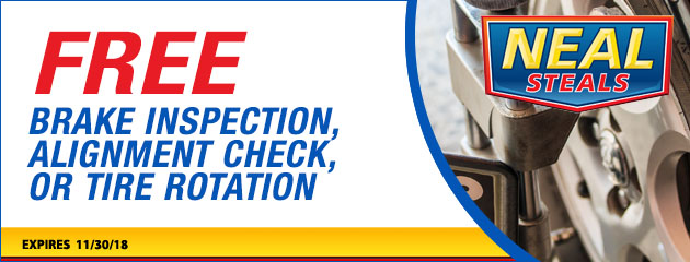 Free Brake Inspection, Alignment Check and Tire Rotation