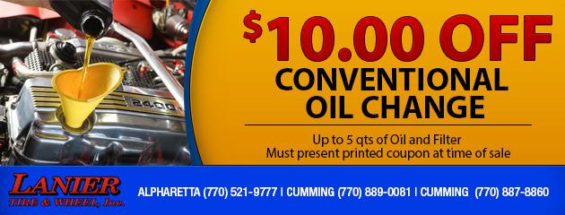 $10.00 off a Conventional Oil change