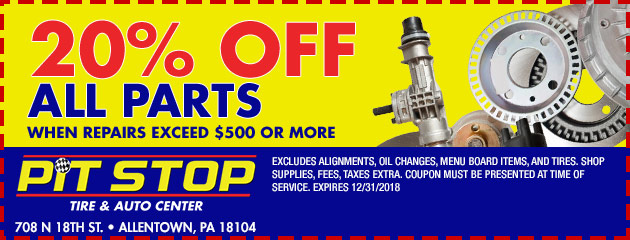 20% off all parts when repairs exceed $500 or more