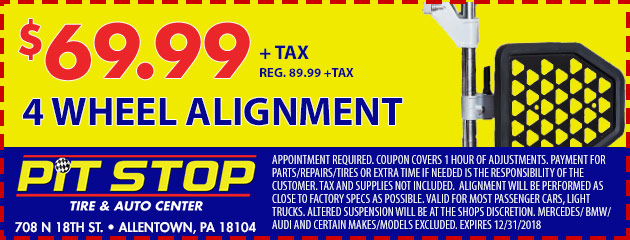 $69.99 4 Wheel Alignment Special