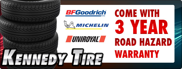 Michelin, BFG, and Uniroyal come with 3 year road hazard warranty