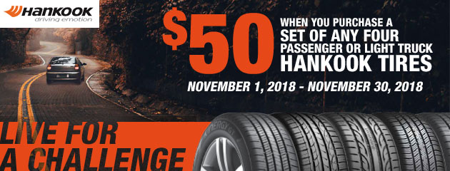 Up to $50 off on a set of 4 Hankook Tires