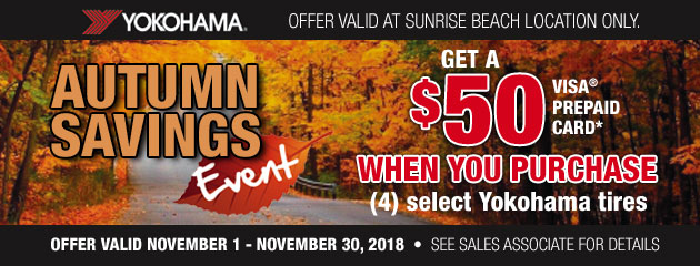 Up to $50 off on a set of 4 Yokohama Tires