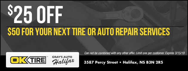$25 Off $50 For Your Next Tire or Auto Repair Services