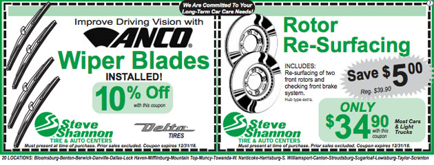 wiper blades and rotor resurfacing