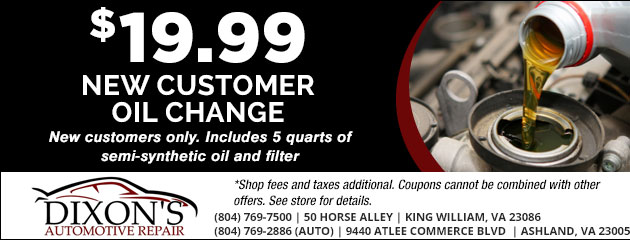 $19.99 New Customer Oil Change Special