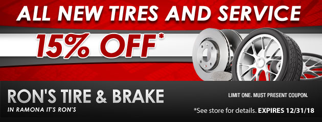 15% Off Most Tires And Service