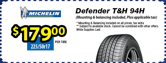 225/50r17 Defender T&H 94H - $179.00 each