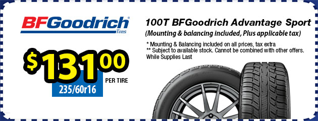 235/60r16 100T BFGoodrich Advantage Sport - $131.00 each