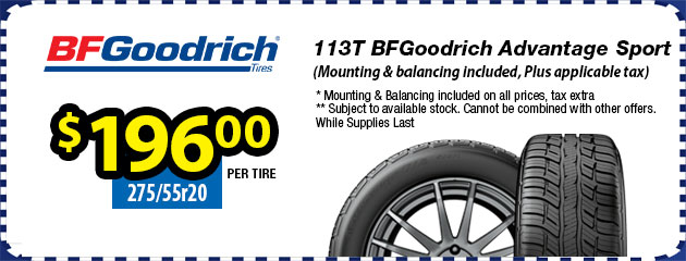 275/55r20 113T BFGoodrich Advantage Sport - $196.00 each