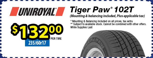 235/60r17 Uniroyal Tiger Paw 102T $132.00 each