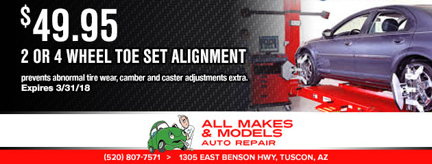 $49.95 - 2 or 4 Wheel Toe Set Alignment