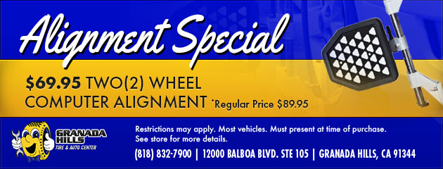 $69.95 TWO (2) WHEEL COMPUTER ALIGNMENT