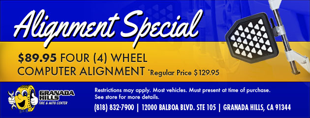 $89.95 FOUR (4) WHEEL COMPUTER ALIGNMENT