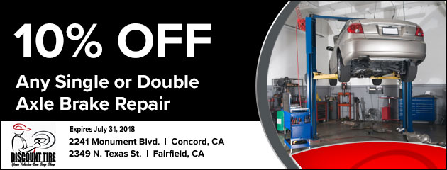 10% off Any Single or Double Axle Brake Repair