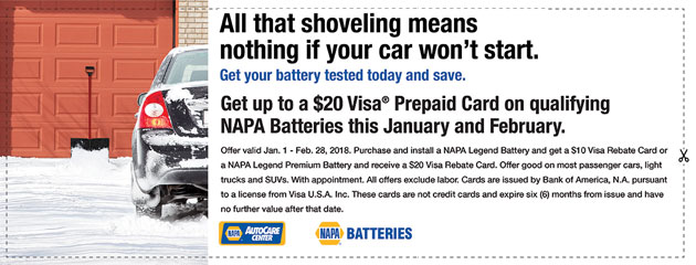Get Up to a $20 Visa® Prepaid Card on Qualifying NAPA Batteries this January & February