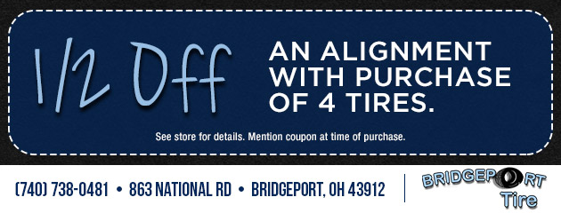 1/2 Off An Alignment With Purchase of 4 Tires