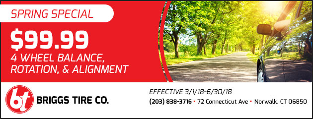 Spring Special $99.99 for 4 wheel balance, rotation, & alignment.
