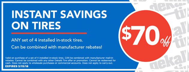 $70 Instant Savings on Tires