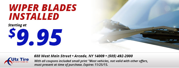 Wiper blades installed starting at $9.95