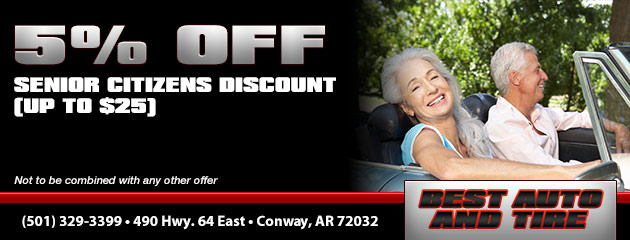 5% off (up to $25) for Senior Citizens