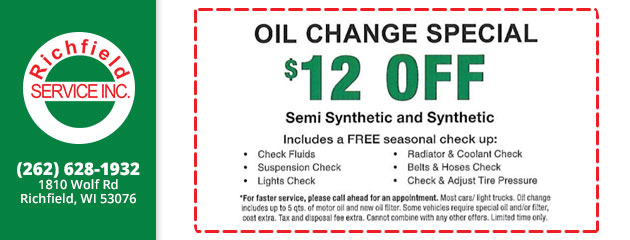 Oil Change Special - $12 Off