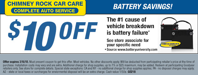 $10 Off Battery Savings Coupon