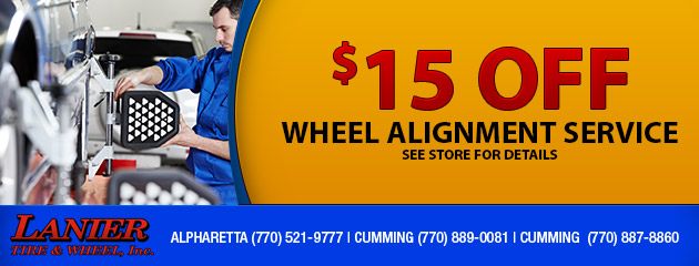 $15 OFF Wheel Alignment Service
