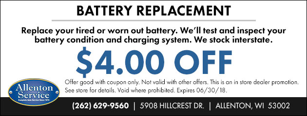 $4 OFF Battery Replacement
