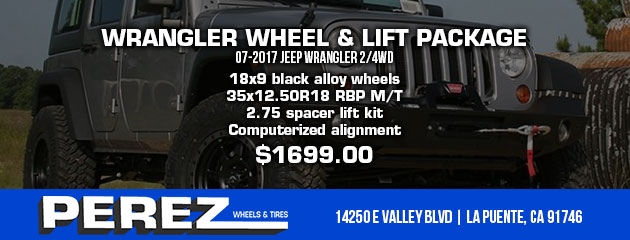 WRANGLER WHEEL & LIFT PACKAGE