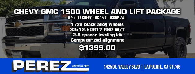 CHEVY GMC 1500 WHEEL AND LIFT PACKAGE