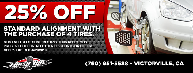 25% Off Standard Alignment With the Purchase of 4 Tires