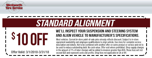 $10 Off Standard Alignment