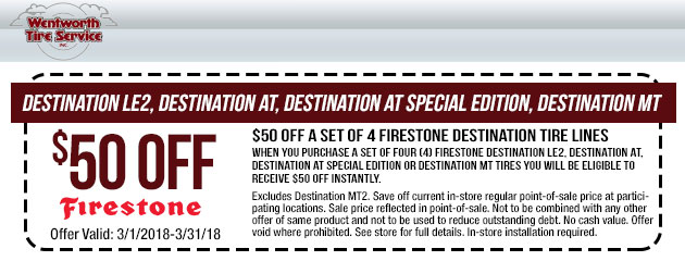 $50 Off A Set Of Select Firestone Destination Tires