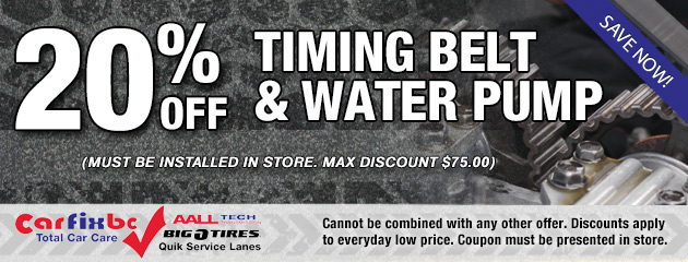 20% Off Timing Belt & Water Pump