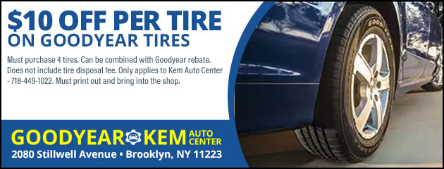 $10 Off Per Tire on Goodyear Tires