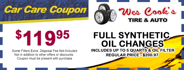 Full Synthetic Oil Changes - $119.96