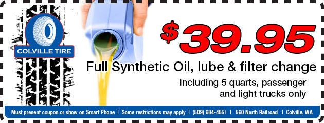 $39.95Full Synthetic Oil, lube & filter change