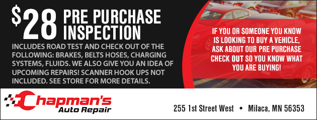 Car Inspection Coupons >> Coupons Savings At Chapman S Auto Repair Save On Tires Service
