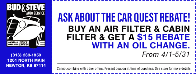 Buy an air filter & cabin filter & get a $15 rebate with an oil change.