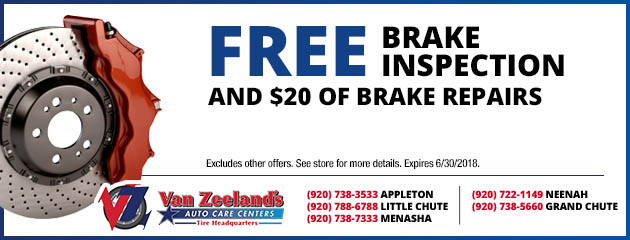Free Brake Inspection and $20.00 of Brake Repairs