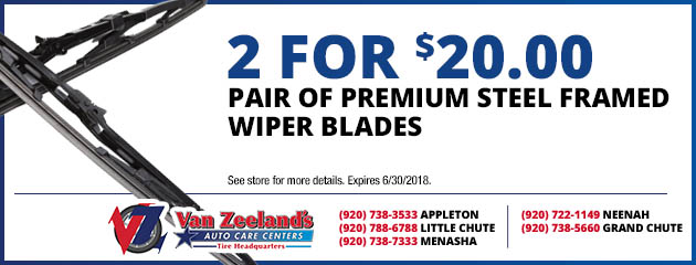 Pair of Premium Steel Framed Wiper Blades - 2 for $20.00
