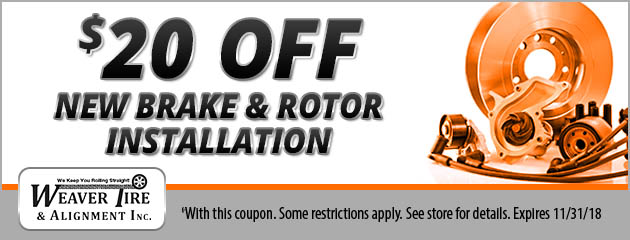 $20 Off Brake and Rotor Installation