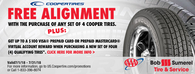 Free alignment with the purchase of any set of 4 Cooper Tires.