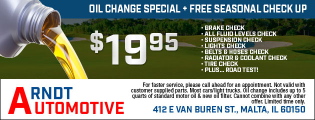 Oil Change Special + Free Seasonal Check Up