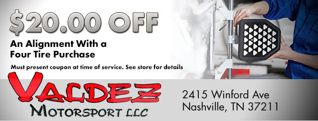 $20 Off an Alignment with a Four Tire Purchase